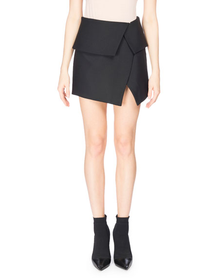 Balmain Fold-Over Asymmetric Miniskirt, Black