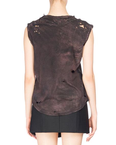 Distressed Cap-Sleeve Tiger-Print Shirt, Black