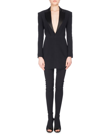 Balmain Satin-Lapel V-Neck Crepe Tuxedo Minidress, Black