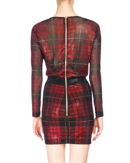 Strass Tartan Plaid Draped Minidress, Red/Black