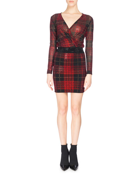 Balmain Strass Tartan Plaid Draped Minidress, Red/Black