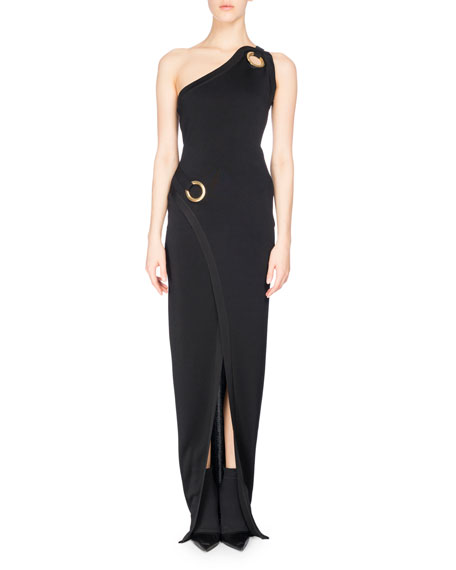 Balmain One-Shoulder Wrap Gown with Golden Rings, Black