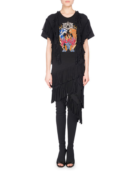 Balmain Fringe-Trim Rocker T-Shirt Dress, Black
