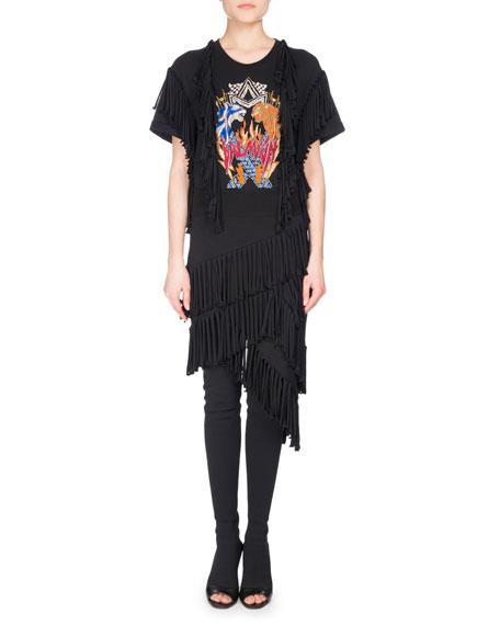 Balmain Fringe-Trim Rocker T-Shirt Dress, Black