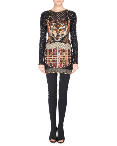 Long-Sleeve Beaded Tiger Minidress, Black