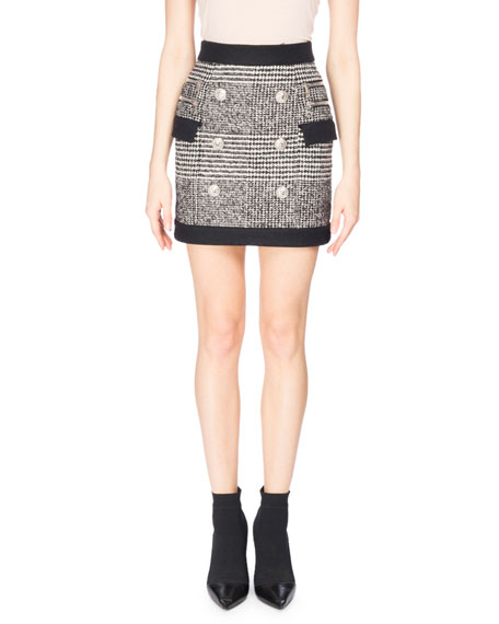 Balmain Houndstooth Button Miniskirt, Black/White