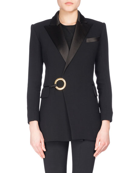 Balmain Satin-Lapel Tuxedo Jacket with Ring Detail, Black
