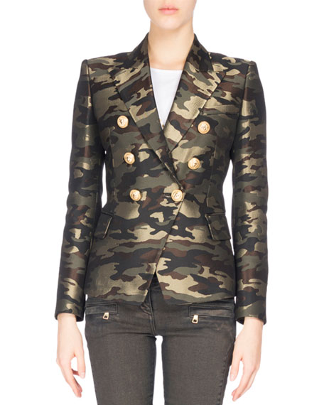 Balmain Camouflage Double-Breasted Blazer, Green