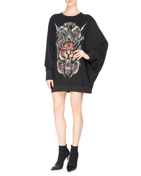 Balmain Tiger Logo Graphic Sweatshirt, Black