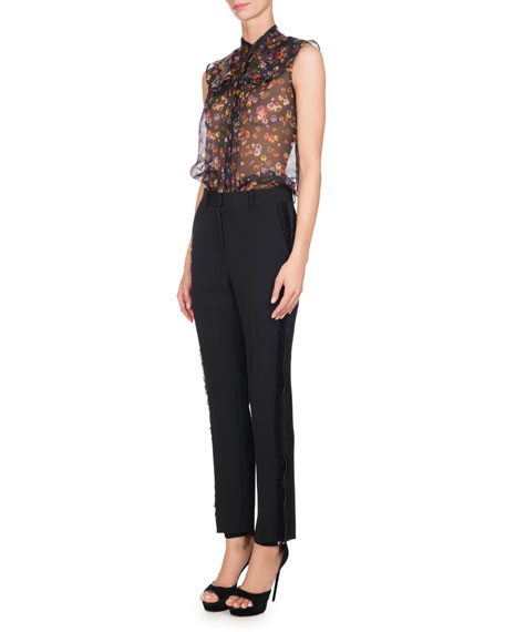 Lace-Trim Wool Straight-Leg Pants, Black