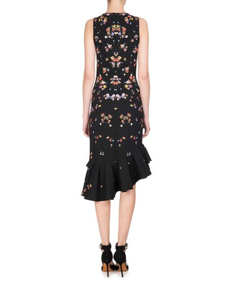 Pansy-Print Sleeveless Ruffle-Trim Dress, Multicolor