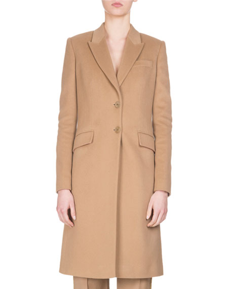 Givenchy Wool-Cashmere Classic Coat, Camel