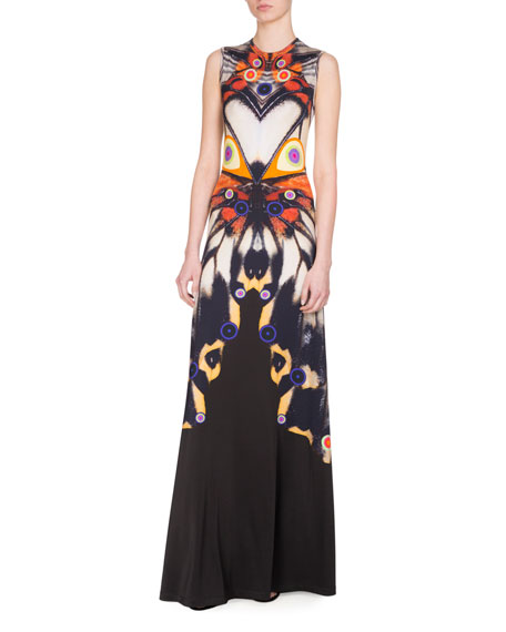 Givenchy Sleeveless Butterfly-Print Jersey Gown, Multicolor