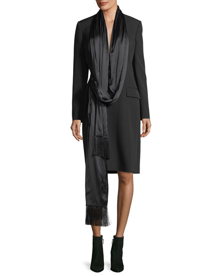 Givenchy Long Wool Coat w/ Satin Neck Scarf