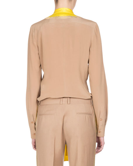 Silk Crêpe de Chine Tie-Neck Shirt, Camel