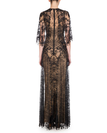 Beaded Lace Capelet Gown, Black