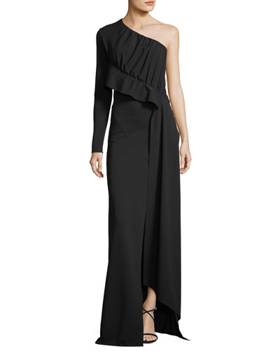 One-Shoulder Crepe Jersey Ruffle Gown