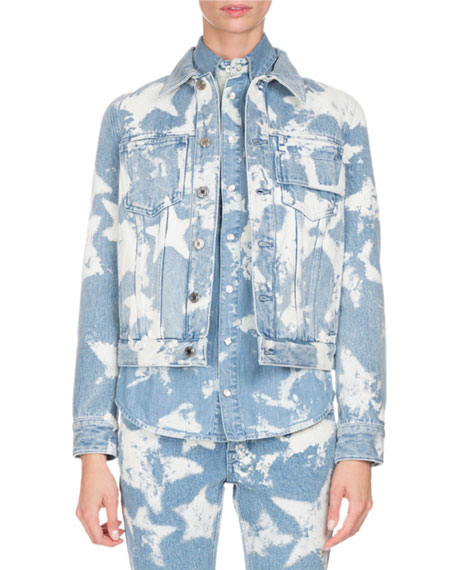 Bleached Stars Denim Jacket, Light Blue