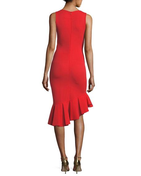 Sleeveless Crepe Jersey Ruffle-Hem Dress