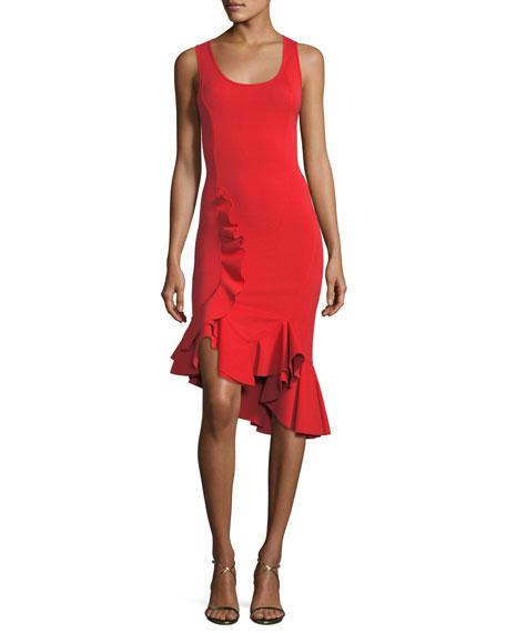 Givenchy Sleeveless Crepe Jersey Ruffle-Hem Dress