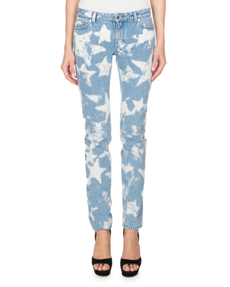 Givenchy Bleached Stars Skinny Jeans, Light Blue and