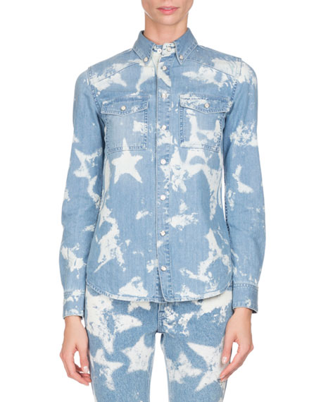 Givenchy Bleached Stars Jean Jacket, Light Blue and