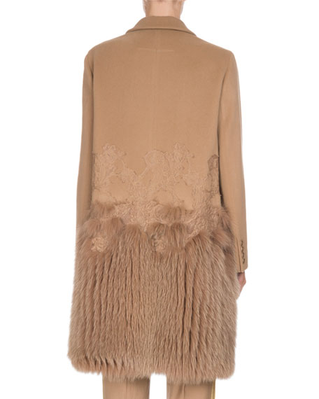 Wool-Cashmere Lace Single-Breasted Coat with Fur Hem, Camel