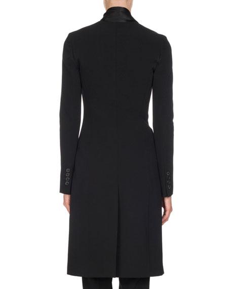 Wool Jacket with Satin Fringe Scarf, Black