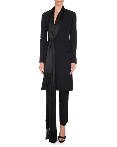 Givenchy Wool Jacket with Satin Fringe Scarf, Black