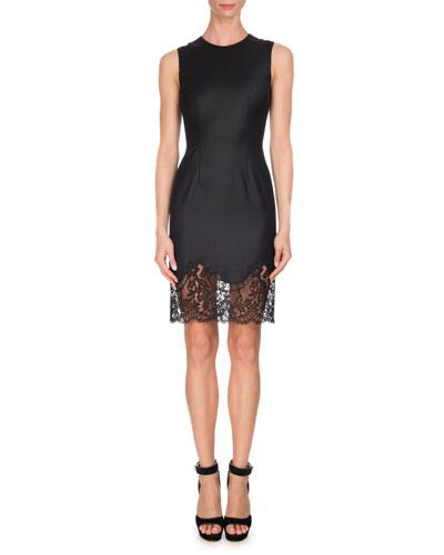 Sleeveless Wool Lace-Hem Minidress, Black