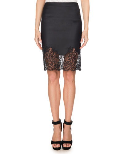 Lace-Hem Wool Pencil Skirt, Black