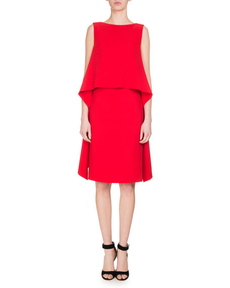 Givenchy Cady Sleeveless Popover Dress, Red