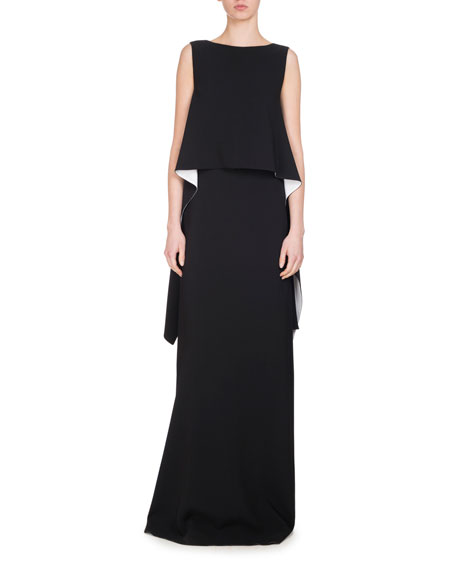 Givenchy Cascade-Side Gown, Black/White