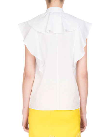 Sleeveless Poplin Ruffle Blouse, White