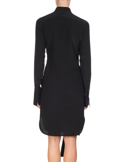 Bicolor Belted Silk Shirtdress, Black/White