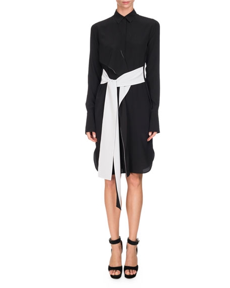 Givenchy Bicolor Belted Silk Shirtdress, Black/White