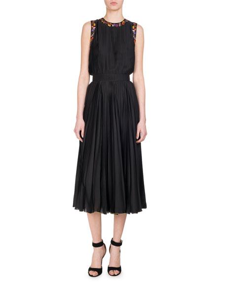 Givenchy Pansy-Print Pleated Charmeuse Midi Dress, Black