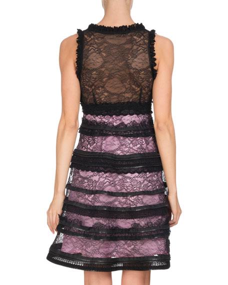 Sleeveless V-Neck Tiered Lace Dress, Black/Pink