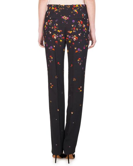 Pansy-Print Cady Straight-Leg Pants, Black