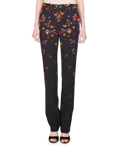 Givenchy Pansy-Print Cady Straight-Leg Pants, Black