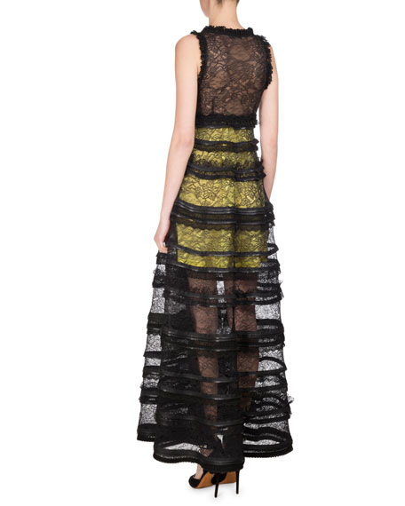 Sleeveless V-Neck Tiered Lace Gown, Black/Yellow