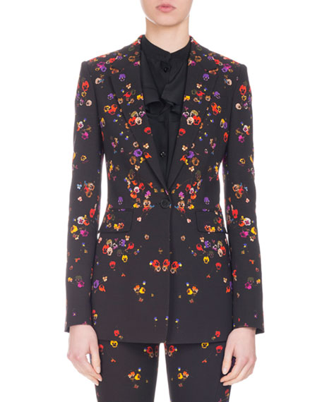 Pansy-Print Cady One-Button Blazer, Black