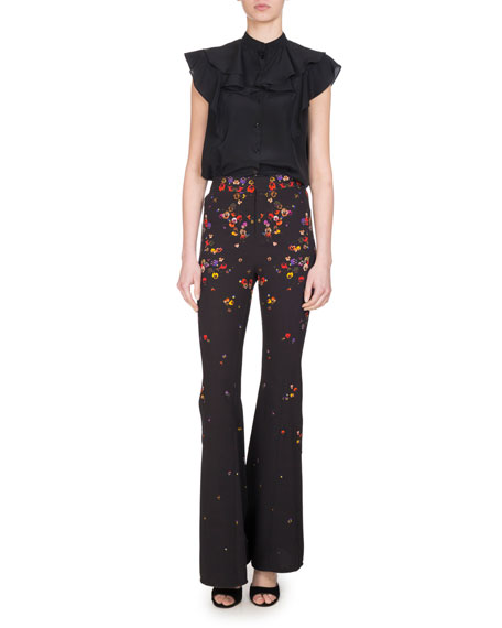 Pansy-Print Cady Flare-Leg Pants, Black