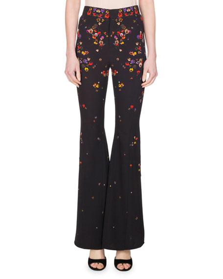Givenchy Pansy-Print Cady Flare-Leg Pants, Black
