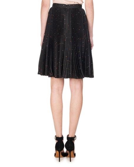 Confetti Cross Printed Plissé Charmeuse Skirt, Black