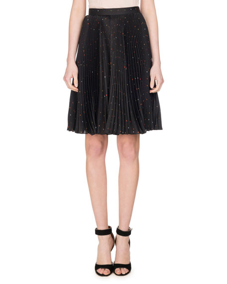 Confetti Cross Printed Plissé Charmeuse Skirt, Black