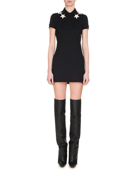 Givenchy Cotton Piqué Polo Dress with Stars, Pink/Black