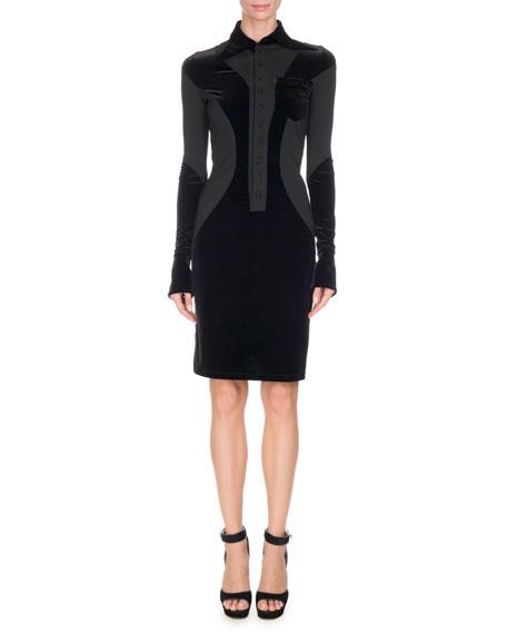 Givenchy Collared Jersey & Velvet Dress, Black
