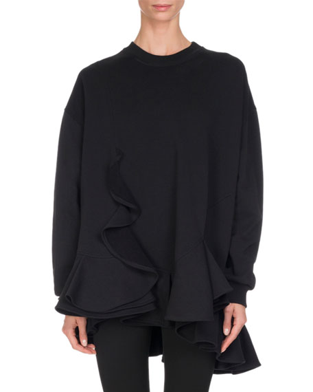 Givenchy Cotton Ruffle-Hem Sweatshirt, Black