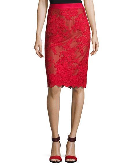 Marchesa Lace Top with Satin Necktie and Matching